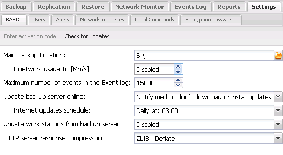 Backup Server Settings