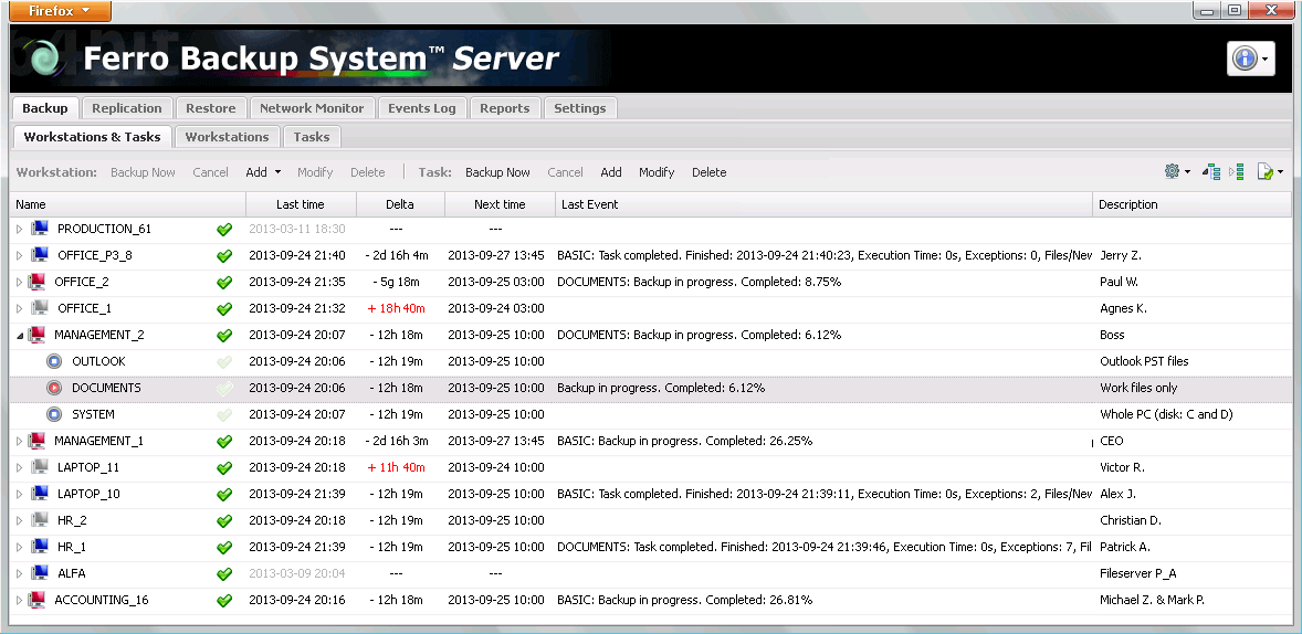 Ferro Backup System Screen shot