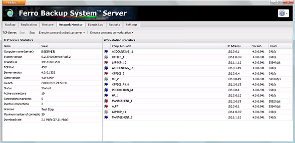 FBS Server - Network Monitor