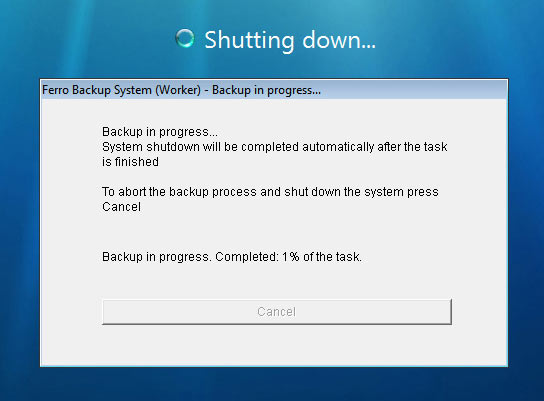 FBS Worker – the information window displayed during system shutdown